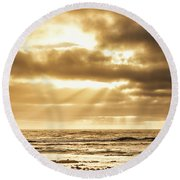 Late Day Rays Round Beach Towel