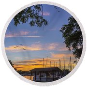 Late Evening On The Cove Round Beach Towel