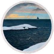 Late Fall At Sea Round Beach Towel