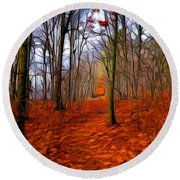 Late Fall In The Woods Round Beach Towel
