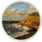 Late In The Day In Cheticamp Round Beach Towel
