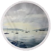 Late In The Day Round Beach Towel