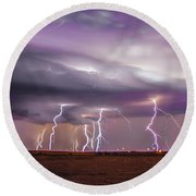 Late July Storm Chasing 086 Round Beach Towel