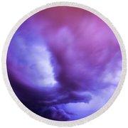 Late Night Nebraska Shelf Cloud 001 Round Beach Towel