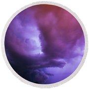 Late Night Nebraska Shelf Cloud 002 Round Beach Towel