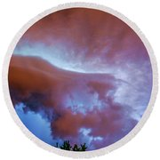 Late Night Nebraska Shelf Cloud 007 Round Beach Towel