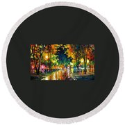 Late Night - Palette Knife Oil Painting On Canvas By Leonid Afremov Round Beach Towel