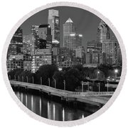 Late Night Philly Grayscale Round Beach Towel