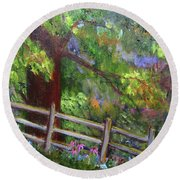Late Summer At Pennypack Preserve Round Beach Towel