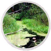 Late Summer At The Creek Round Beach Towel