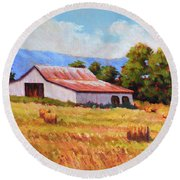 Late Summer Hay Round Beach Towel