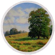 Late Summer Pastoral Round Beach Towel