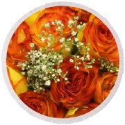 Late Summer Roses Round Beach Towel