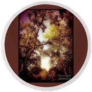 Late Summer View Of Sky And Trees Round Beach Towel