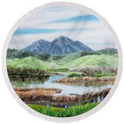 Late Winter In California Round Beach Towel