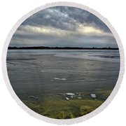 Later Winter Ice Round Beach Towel