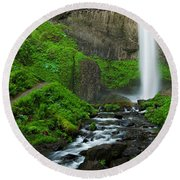 Latourell Falls Oregon Round Beach Towel