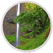 Latourell Falls Oregon Round Beach Towel