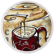 Latte By Madart Round Beach Towel by Megan Duncanson