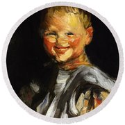 Laughing Child 1907 Round Beach Towel