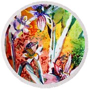Laughing Flowers Round Beach Towel