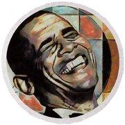 Laughing President Obama Round Beach Towel