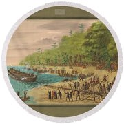 Launching Of The Griffin.  July 1679 Round Beach Towel