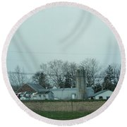 Laundry Day At The Dairy Farm Round Beach Towel