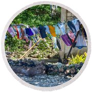 Laundry Drying In The Wind Round Beach Towel