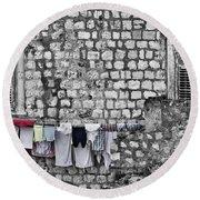 Laundry Line - Dubrovnik Croatia #3 Round Beach Towel