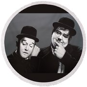 Laurel And Hardy Round Beach Towel by Paul Meijering