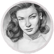 Lauren Bacall Round Beach Towel