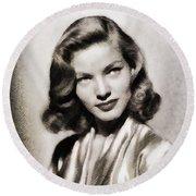 Lauren Bacall, Vintage Actress Round Beach Towel