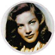 Lauren Bacall - Vintage Painting Round Beach Towel