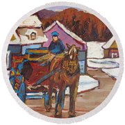 Laurentian Carriage Ride Round Beach Towel
