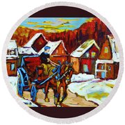 Laurentian Village Ride Round Beach Towel