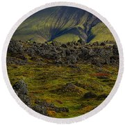 Lava Field And Mountain - Iceland Round Beach Towel