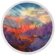 Lava Flow Abstract Round Beach Towel