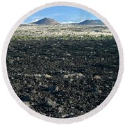 Lava Flow And Schonchin Butte, Lava Beds Nm, California, Usa Round Beach Towel