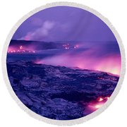 Lava Flows To The Sea Round Beach Towel