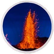 Lava Fountains At The Holuhraun Fissure Round Beach Towel