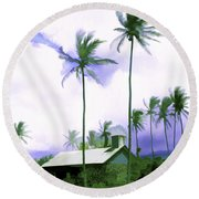 Lava Rock Church Round Beach Towel