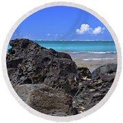 Lava Rocks At Haena Beach Round Beach Towel