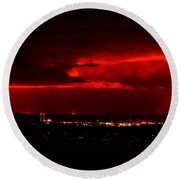 Lava Skies Over Hilo Bay Round Beach Towel