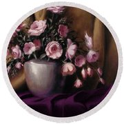 Lavander And Pink Flowers In Silver Vase Round Beach Towel
