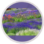 Lavender And Flowers Oh My Round Beach Towel