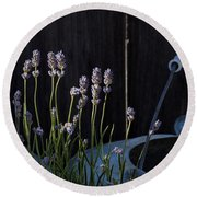 Lavender And Watering Can Round Beach Towel