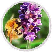 Lavender Bee Round Beach Towel