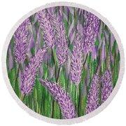 Lavender Blooms Round Beach Towel