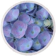 Lavender Blue Hydrangea Round Beach Towel